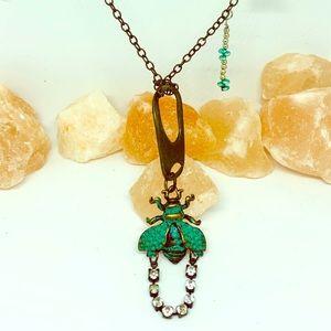 🦄 Oxidized look vintage bee necklace teal bronze